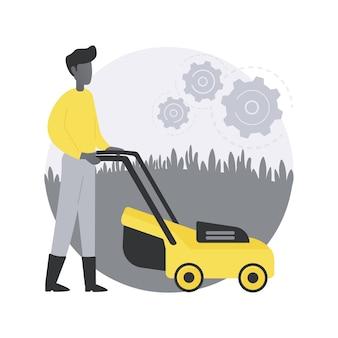 芝刈りサービスの抽象的な概念図。