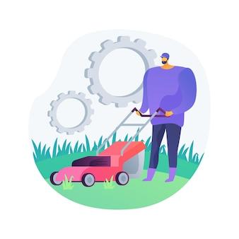 芝刈りサービスの抽象的な概念のベクトル図です。草の刈り取りと片付け、通気と施肥、芝生の除草、園芸サービス、タンポポの除去、抽象的な比喩の吹き付け。