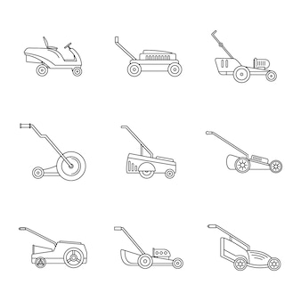 Lawnmower grass garden icons set