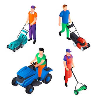 Lawnmower icon set. isometric set of lawnmower