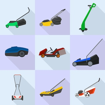 Lawnmower icons set, flat style
