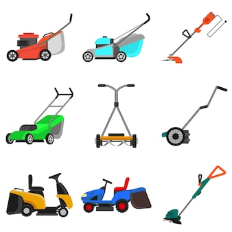 Lawnmower set, flat style