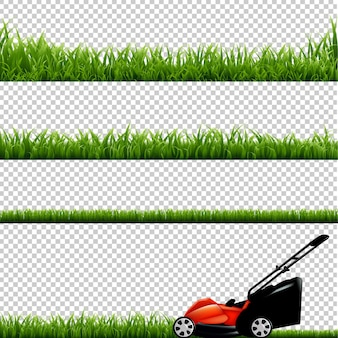 Lawnmower with green grass isolated illustration