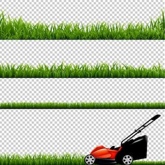 푸른 잔디 고립 된 일러스트와 함께 잔디 깍는 기계
