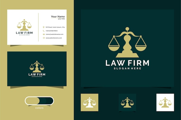 Шаблон логотипа карты адвоката и визитная карточка