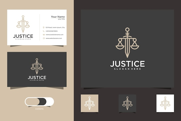 Lawyer card logo template and business card