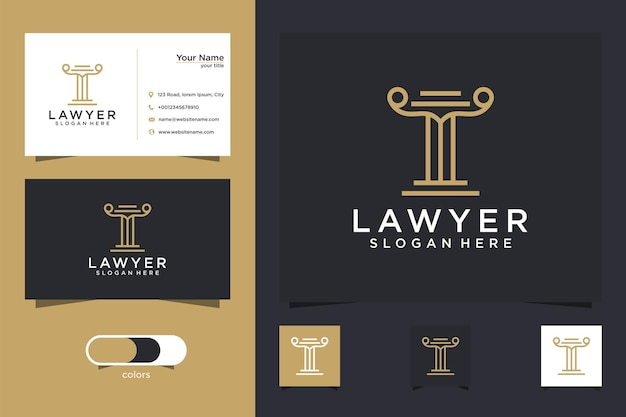 Lawyer card logo template and business card Premium Vector