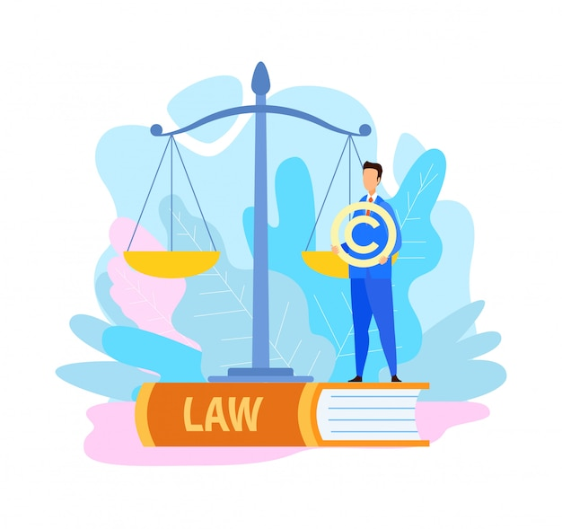 Lawyer holding copyright symbol flat illustration