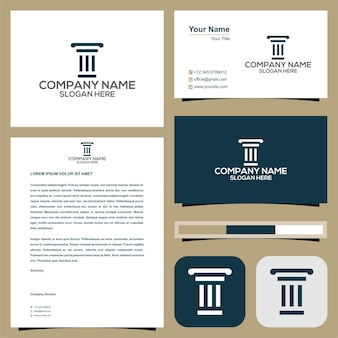 Lawyer or hotel or building or villa logo with business card