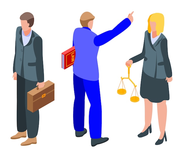 Lawyer icons set, isometric style