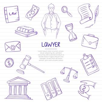 弁護士の仕事または仕事の職業は、紙の本の線のベクトル図にアウトラインスタイルで手描きを落書き