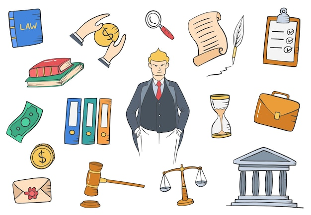 Lawyer jobs profession doodle hand drawn set collections with flat outline style vector illustration