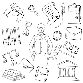 Lawyer jobs or profession doodle hand drawn set collections with outline black and white style