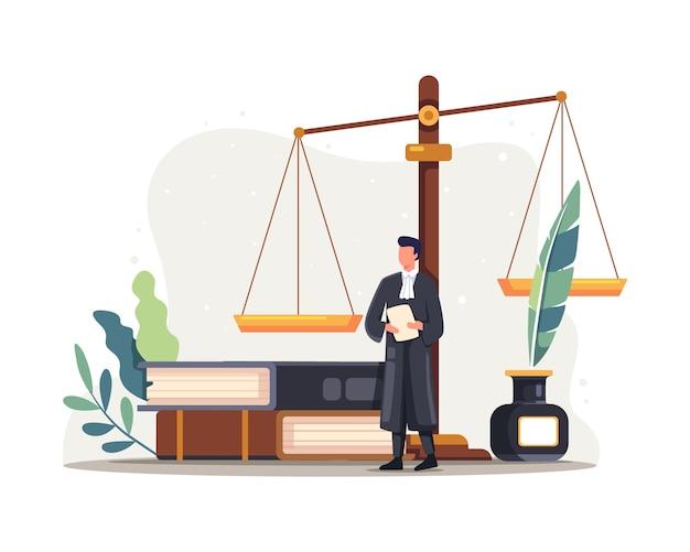 Юрист судья характер иллюстрации. символ правосудия и федеральной власти, знания профессии юриста. векторная иллюстрация в плоском стиле