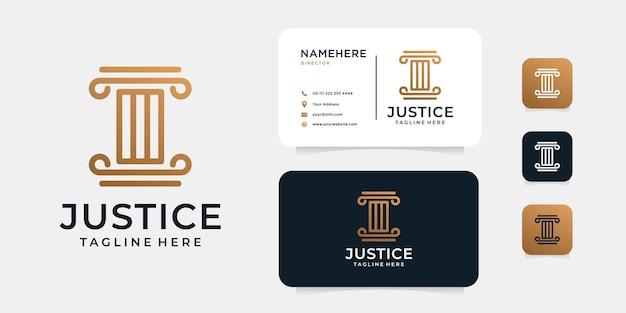 弁護士の正義の法的ロゴデザインと名刺テンプレート。