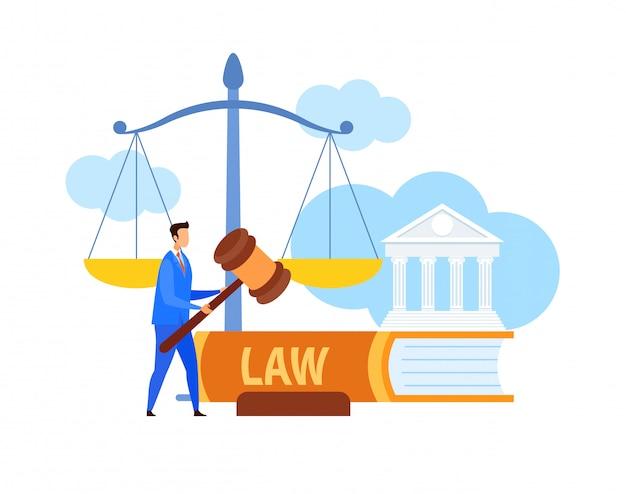 Lawyer, legal advisor holding gavel flat character