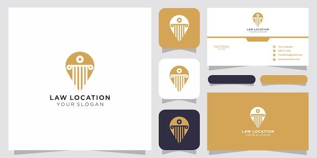 弁護士の場所のロゴと名刺のデザインテンプレート、弁護士、正義、ピンのロゴ、法律のロゴ