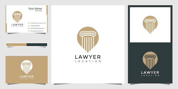 Lawyer location logo design and business card