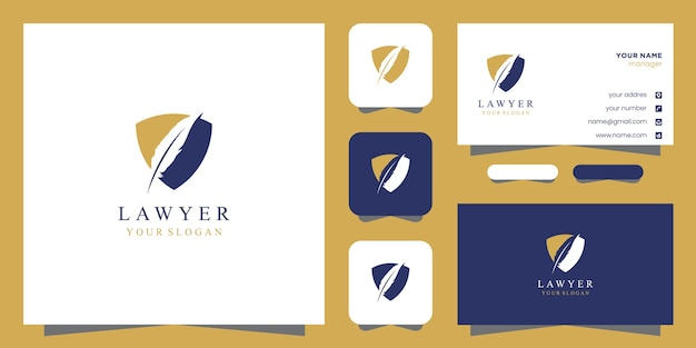 Lawyer logo and business card design Premium Vector
