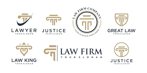 Lawyer logo collection with creative element style premium vector