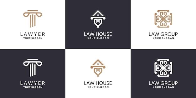 현대 다른 요소와 변호사 로고 컬렉션 premium vector