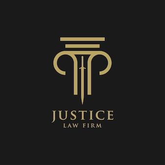 변호사 로고 디자인 템플릿 선형 스타일. 실드 소드 법률 법률