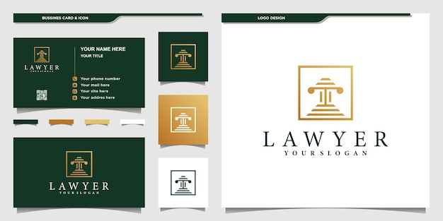 Lawyer  logo design template with creative box style premium vector