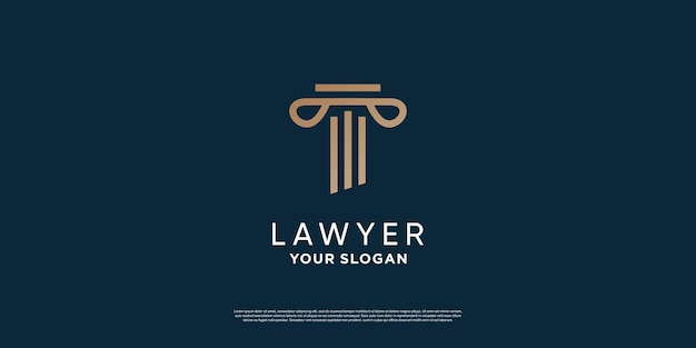 創造的なミニマリストの概念プレミアムベクトルと弁護士のロゴデザイン