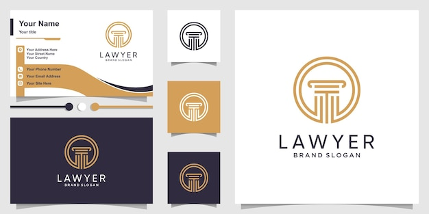 Lawyer logo template with modern style and business card design premium vector