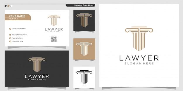 Юрист логотип с линией арт стиль и шаблон дизайна визитной карточки. золото, фирма, закон, икона справедливости, визитная карточка