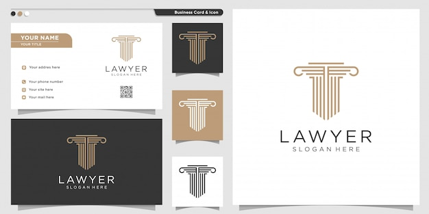 Lawyer logo with line art style and business card design template. gold, firm, law, icon justice, business card