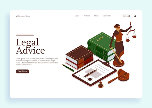 Lawyer office workplace with signed legal contract judge gavel scales of justice and legal books