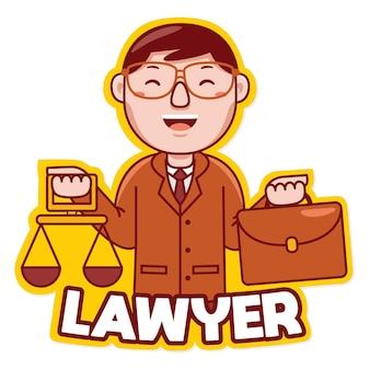 만화 스타일의 변호사 직업 마스코트 로고 벡터