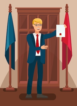 Lawyer showing evidence in court flat illustration