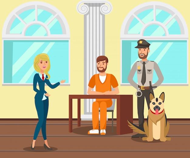 Lawyer talking with prisoner flat illustration