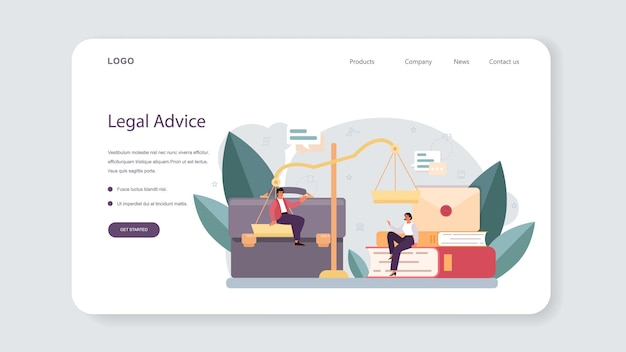 Lawyer web banner or landing page. law advisor or consultant, advocate defending a customer at the trial. punishment and judgement idea. settling document creation. vector flat illustration