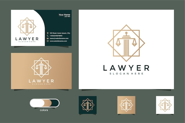 Lawyer with line style logo design and business card