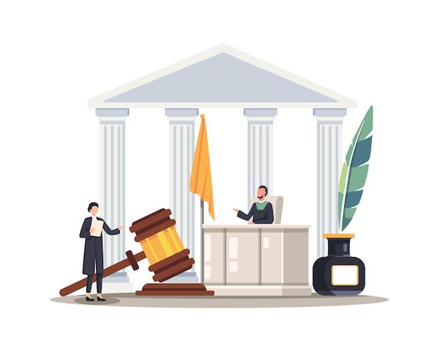 法廷で話す弁護士の女性。裁判官の前に立って話している女性弁護士または陪審員。フラットスタイルのベクトル図