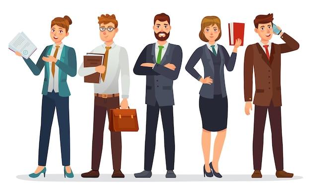 변호사 팀. 법률 부서, 비즈니스 또는 금융 변호사. 전문 변호사 만화 캐릭터 그림.
