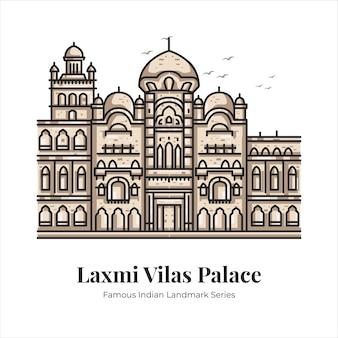 Laxmi 빌라 궁전 인도 유명한 상징적인 랜드마크 만화 라인 아트 그림