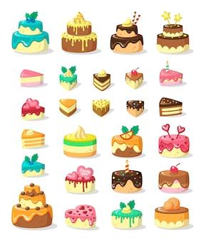 Слоистые торты и кусочки плоской иллюстрации набор. многоярусные замороженные пироги и порции. праздничные кондитерские изделия.