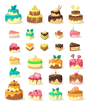 Layered cakes and slices flat illustration set. multi-tiered frosted pies and portions. festive confectionery products.