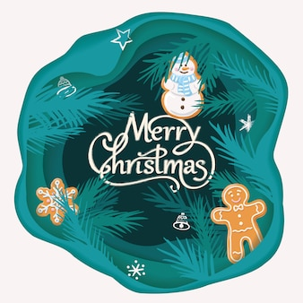 Layered cut out paper merry christmas card