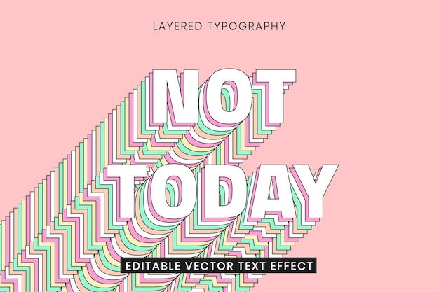 Layered editable text effect template 3d typography