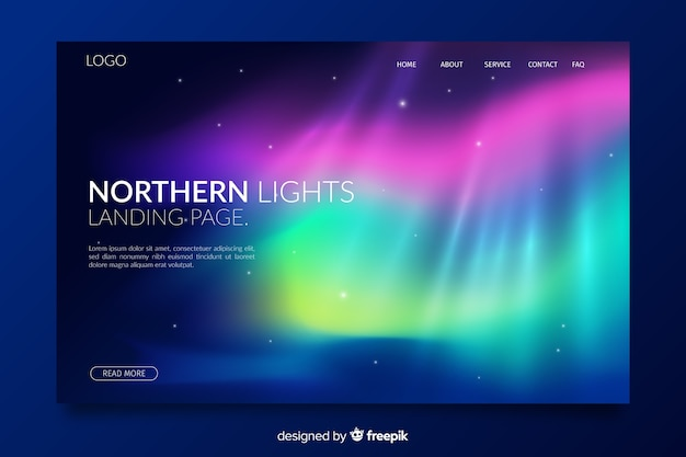 Layered nothern lights landing page