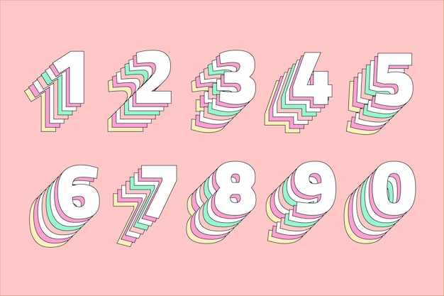 Layered pastel number set