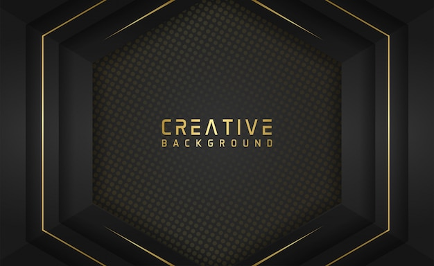 Layered shape background with gold line