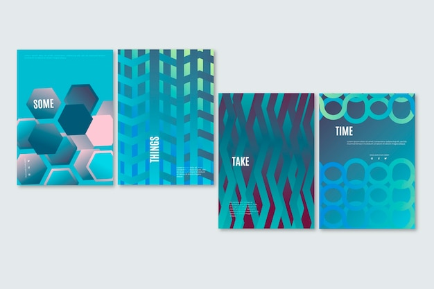 Layers of lines abstract gradient cover collection