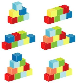 異なる色のブロックの層