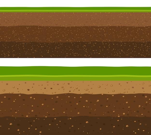 Слои травы с подземными слоями земли.